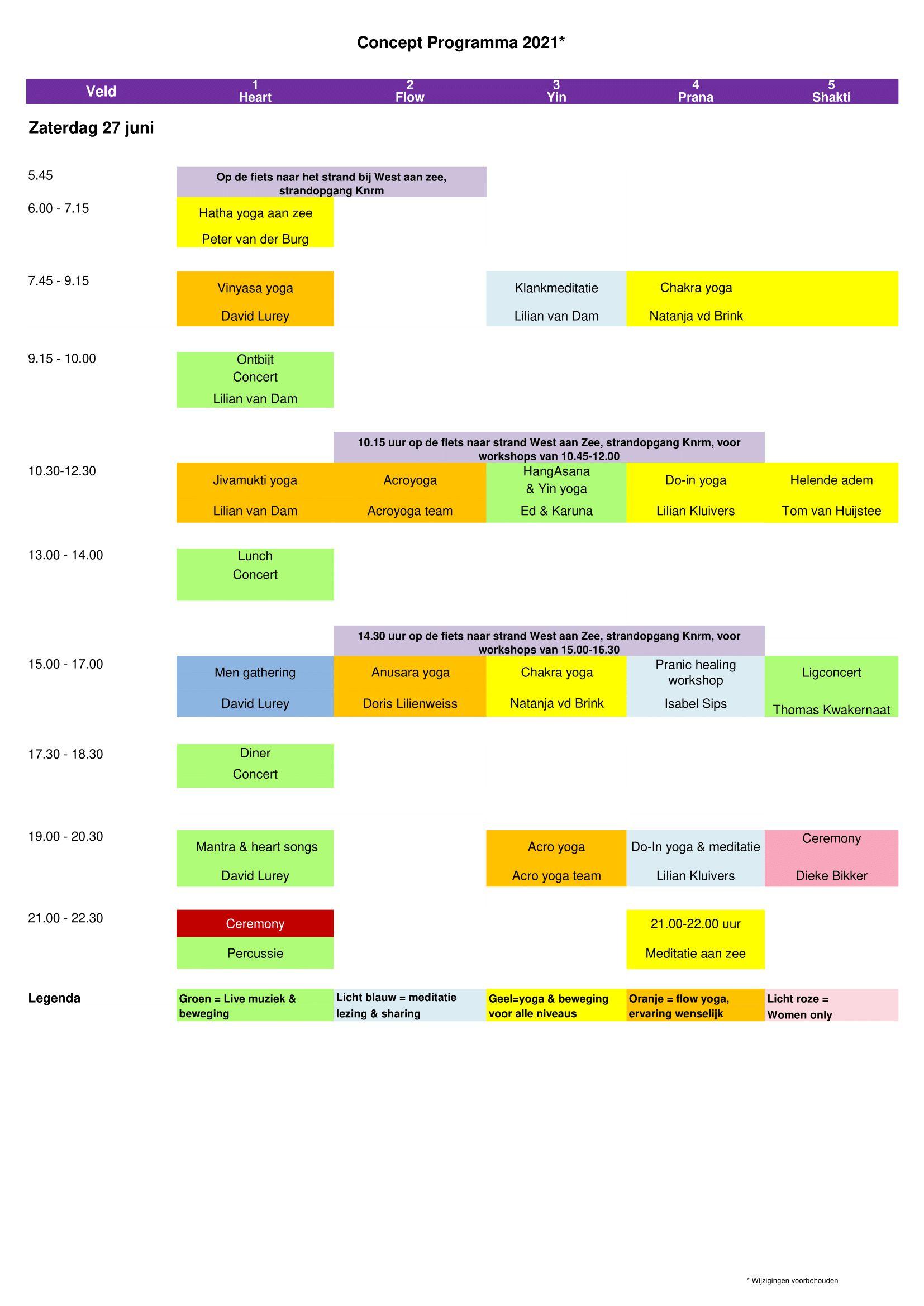 Programmaschema hoofdprogramma op zaterdag