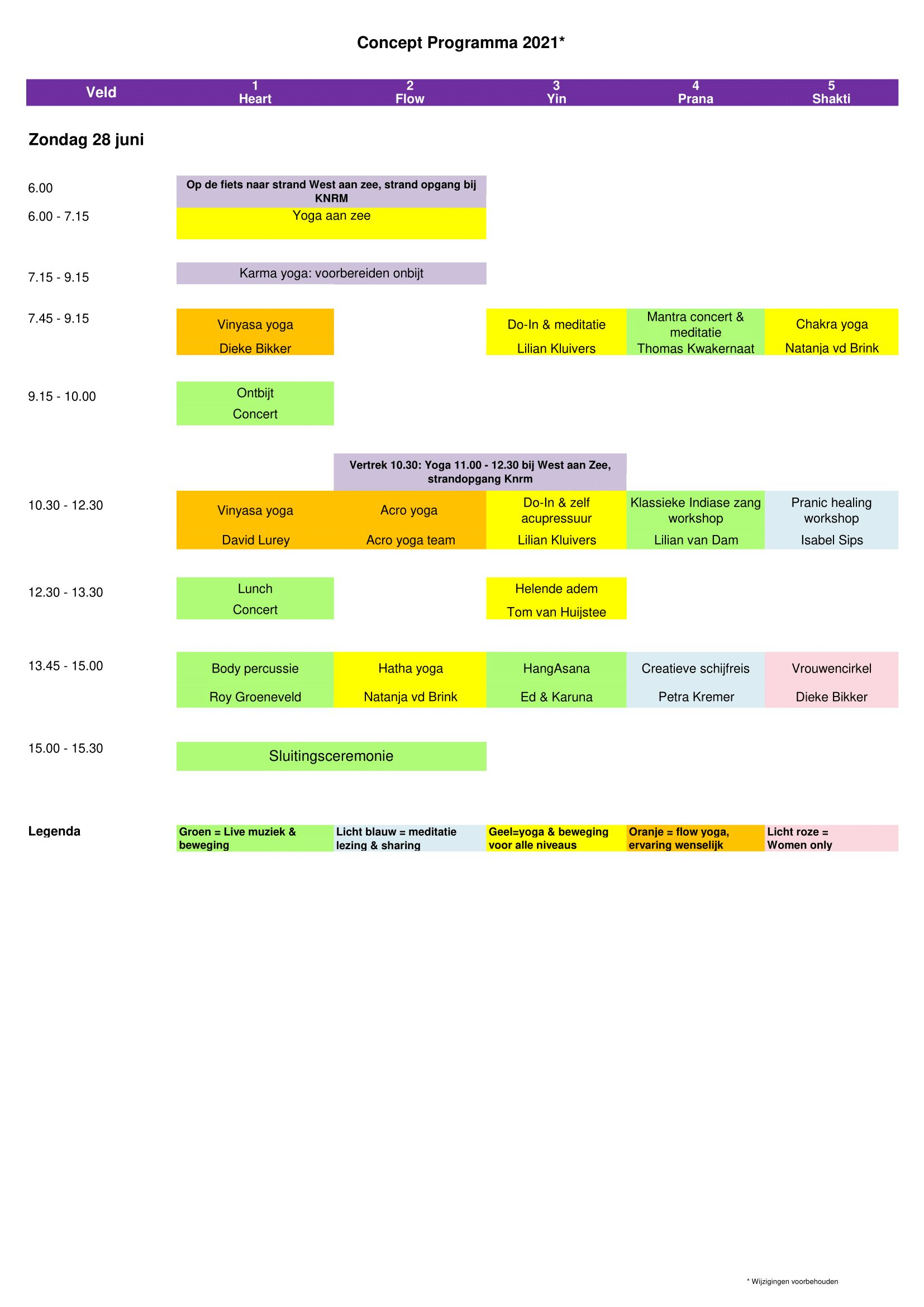 Programmaschema hoofdprogramma op zondag