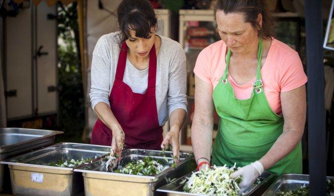 Genieten van een uitgebreid vegetarisch festival menu